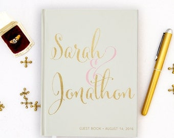 Real Gold Foil Wedding Guest Book Gold foil Guest Books Custom Guestbook Modern Wedding Script Wedding - Ivory