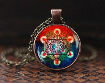 Sri yantra mandala necklace buddhist sacred geometry jewelry for Metatron s cube jewelry