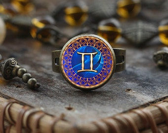Gemini Zodiac ring, Gemini ring, Gemini Zodiac ring, Zodiac Sign ring, Astrology ring,