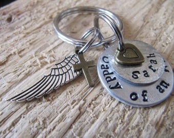 Daddy of an Angel//hand stamped keychain//loss of child//stillborn gift//baby loss//Father of an angel//sympathy gift//miscarriage