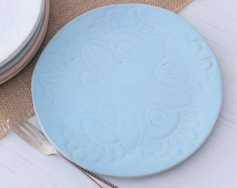 Handmade small ceramic side plate, vintage lace, turquoise plate, serving plate, cake plate, blue, pottery, dinnerware, kitchen, dining