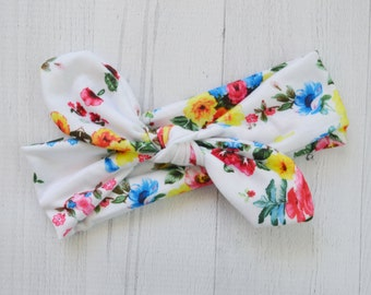 Floral Top Knot Head wrap, Jersey Knit infant headband, baby headband, newborn photo prop, toddler headband, knotted headwrap