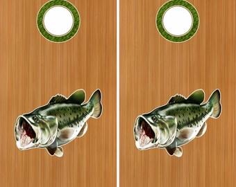"Bass Fish 18"" Cornhole Board Baggo Decal Stickers W/ Hole Rings"