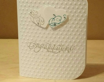 Wedding card, bridal card, engagement card, bridal shower card, congratulations card, Anniversary Card, hand stamped card, homemade card