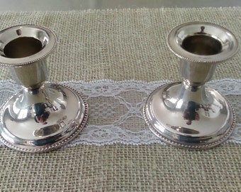 Pair of Vintage Silver Plated Candle Holders