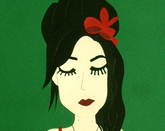 Collage Amy Winehouse green / Papercraft - papercut handmade / hand made paper cut illustration face