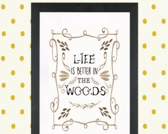 Nursery print, woodland creature decor print, forest friends decor print, nursery decor, printables