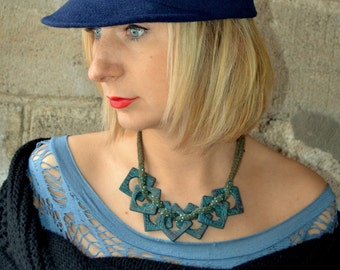 Bohonecklace statement Blue bib necklace Bohemian jewelry Designer necklace Uniqque polymer clay necklace