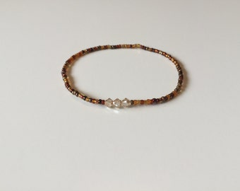 Minimalist Amber and brown ombre beaded friendship bracelet with Swarovski crystal