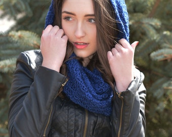 Crochet Hooded Cowl Pattern, Seamless Mobius Scarf, Crochet Ear Warmer, Crochet Mobius Cowl, Lacy Scarf Pattern, Mommy & Me - Canonette