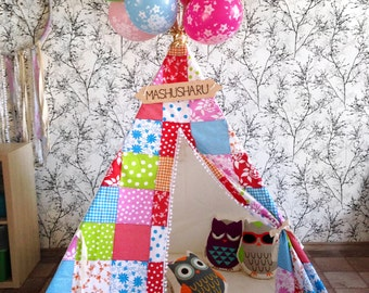 "Tepee/wigwam for children ""Patchwork Collage"""