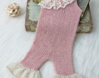 SALE Knit Newborn Romper, Ice Skating Dress, Newborn Ice Skating Costume, Newborn Photography Prop