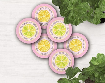 """2.5 inch digital """"Lemonade Birthday"""" favor tags and gift tag or cupcake toppers"""