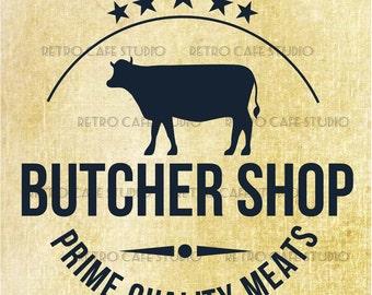 Digital Download Butcher Shop Sign Vintage Transfer Iron On Clip Art; 1022