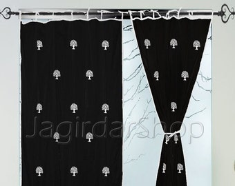 Door Curtains Panels Cotton Black Hand Block Printed Natural Tree Curtain Panels Windows Door 2pcs Set