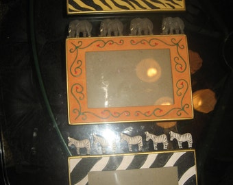 Three Animal Picture Frames - Tigers, Elephants & Zebras