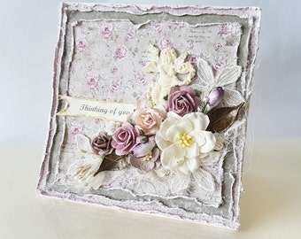 """Thinking of You Greeting Card, 5 7/8X6"""", Shabby Chic, Romantic, dreamy soft vintage lavender olive colors, with flowers and an Angel"""