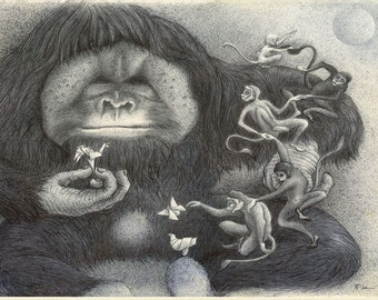 DO MONKEYS DREAM..? Fine Art Print from an original ballpen drawing