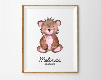 Bear Personalized name print, Custom nursery art,  Watercolor print, Nursery wall decor, Digital poster print, Printable art
