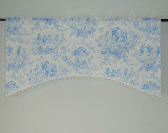 Blue Toile Nursery Valance with Pompom Trim