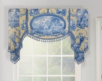 "Braemore My Romance, Pindler Fennimore French Blue Yellow Romantic Medallion Toile Valance Board-Mounted Shaped Handkerchief Jabots 49"" wide"