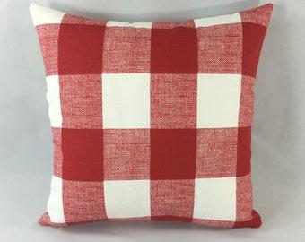 Red Checkerboard Pillow Cover - Anderson Lipstick Print  - Decorative Throw Pillow Cover - Accent Pillow - Premier Prints - Hidden Zipper