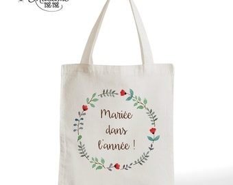 Tote Bag bride in the year, marriage, romantic gift, typography, statement, quote