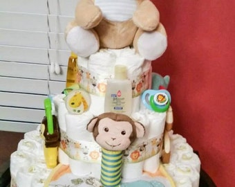 Jungle themed diaper cake