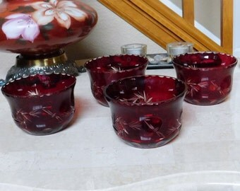 Cut to Clear Glass - Bowls - Red / Ruby - Czeh - Bohemium Style - Desert - Set of 4