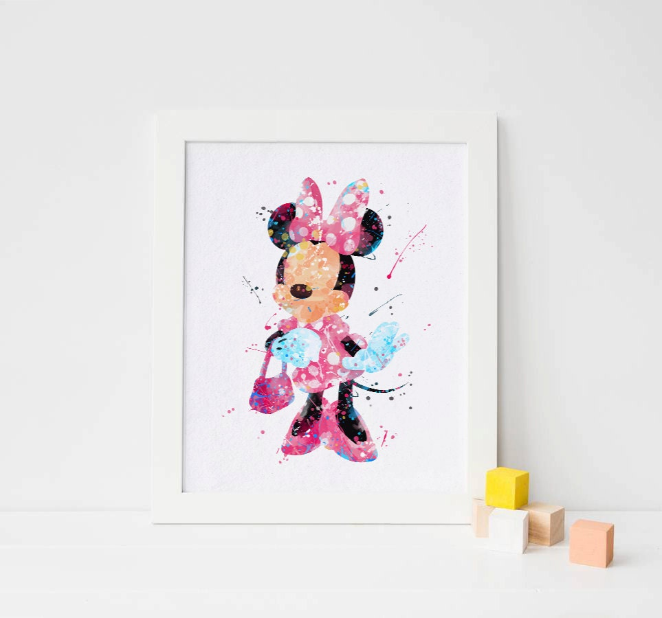 Minnie Mouse Wall Art Minnie Watercolor Minnie Mouse Print
