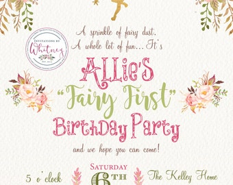 Fairy First Birthday Party Invitation Fairy Party Invitation Digital Printable Design