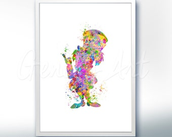 Disney Alice in Wonderland Madhatter Watercolor Poster Print - Wall Decor - Watercolor Painting - Watercolor Art - Kids Decor- Nursery Decor