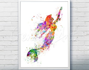 Disney Ariel Little Mermaid Watercolor Poster Print - Wall Decor - Artwork- Watercolor Painting - Watercolor Art - Nursery Decor [2]