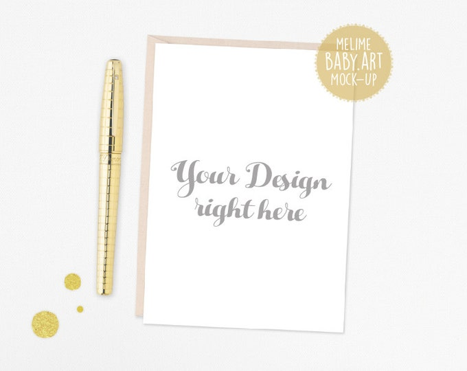 5x7 Card Mockup, Styled Photography Mock Up, Gold pen and Cards Mockup, 5x7 Invite Mockup (A5x7.White)