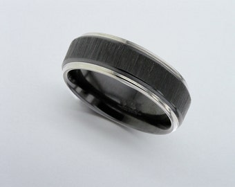 Black Zirconium Ring, Black Wedding Band, Black Zirconium Wedding Band, Wedding Band, Mens Wedding Ring