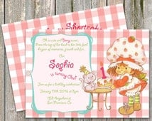 Digital Strawberry Shortcake Invitation, Strawberry Shortcake Vintage, Strawberry Shortcake birthday
