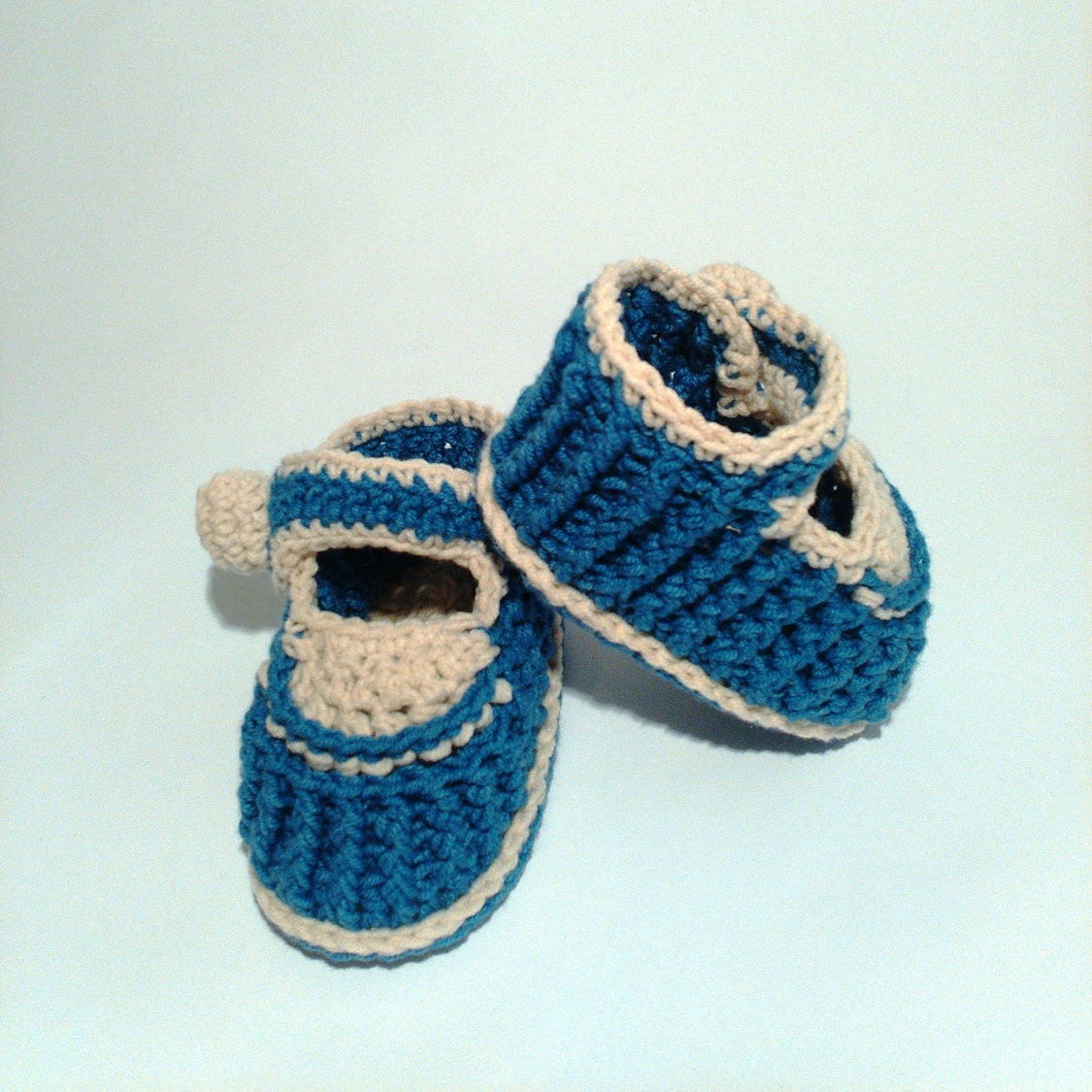Ribbed crochet baby slippers baby boy shoes and by