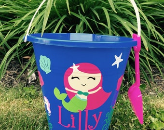 Sand Pail , Beach bucket, Sand pail with Mermaid,Childs Bucket , Sand pail  Mermaid sand Pail Mermaid beach Bucket Custom Mermaid pail