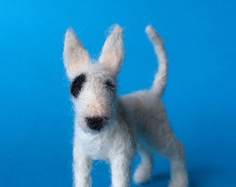 Needle Felted Bull Terrier, dog sculpture.