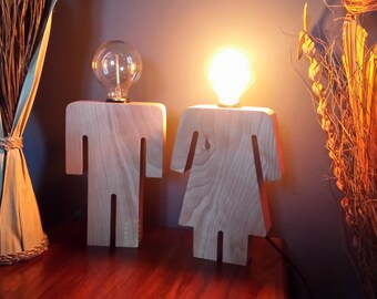 Male And Female Wooden Lamps