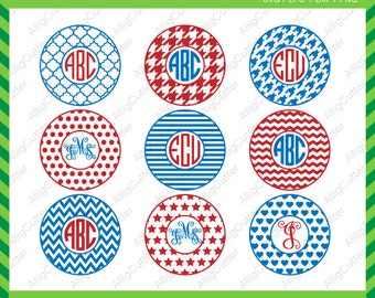 Circle Monogram Patterned Frames Chevrons Lines Dots Houndstooth heart star DXF SVG EPS Cricut Design, Silhouette studio,Sure Cuts A Lot