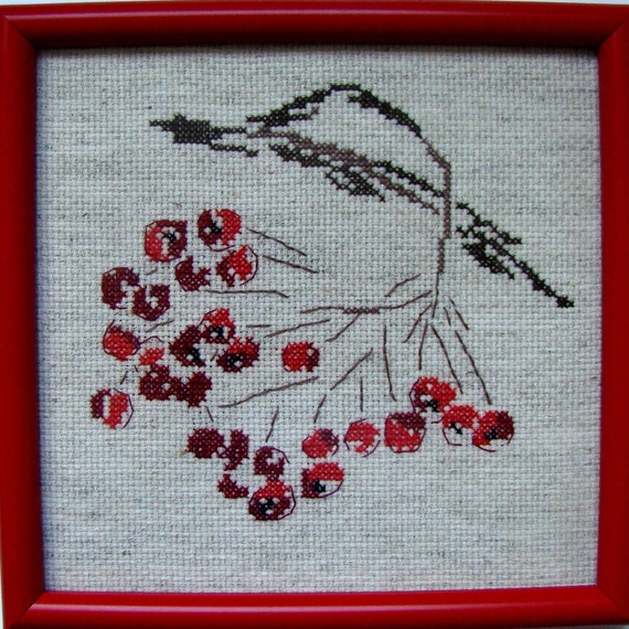 Wall Decor Cross Stitch : Cross stitch berries picture wall d?cor gift for by nadiyahope