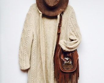 Slouchy 1970's Wool Fisherman Cable Knit Open Duster