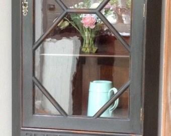 Antique Vintage Astral Glazed Drinks Display Corner Cabinet Bookcase Painted Black Annie Sloan Graphite