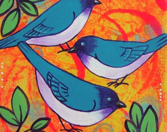 Trio Of Blue Birds Painting Bright Colorful Bird Art Small Canvas Artwork Nature