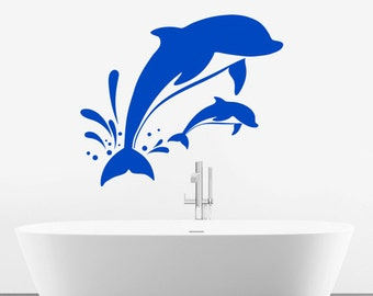 Dolphin Wall Sticker - Bathroom Art Vinyl Decal Transfer - by Rubybloom Designs