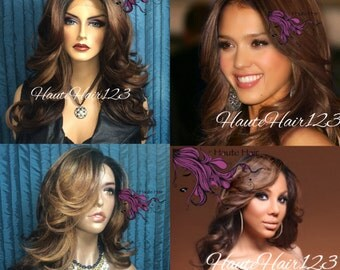 Human Hair Blend Jessica Alba, Tamar Braxton Feather Flip Ombre Brown Blonde Realistic Lace Front Heat Safe Wig