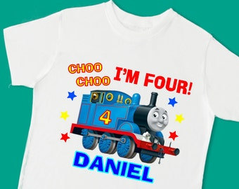 Thomas the Train Birthday Tee. Personalized Birthday Shirt with Name and Age. 1st 2nd 3rd 4th 5th 6th 7th Birthday T Shirt. (15050)