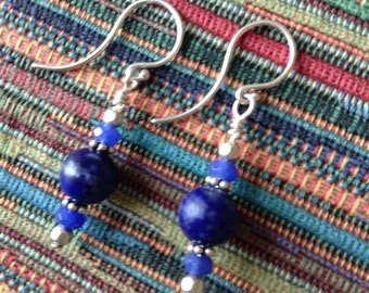 Blue Lapis Lazuli and Blue Jade Sterling Silver Earrings, Blue and silver earrings,  Jewelry for her, Gift, Birthday Gift