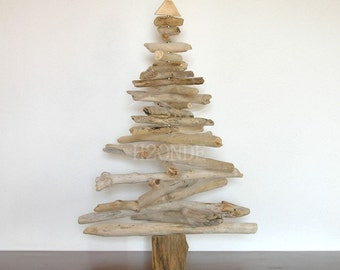 Driftwood Christmas tree wood Xmas modern coastal beach decor natural  rustic ornament holiday recycled decoration green